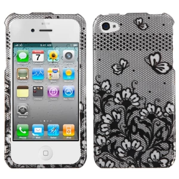 BasAcc Black Lace Flowers Case for Apple iPhone 4S/ 4