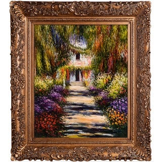 Claude Monet 'Garden Path at Giverny' Hand Painted 29.5-inch Framed Canvas Art
