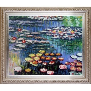Claude Monet 'Water Lilies (pink)' Hand-painted Framed Canvas Art