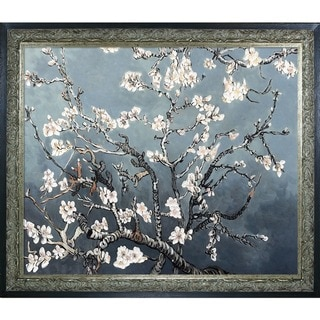 La Pastiche Original 'Branches of an Almond Tree in Blossom, Pearl Grey' Hand-painted Framed Canvas Art