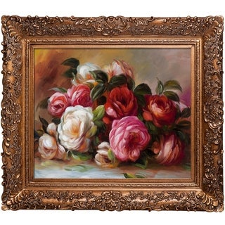Pierre Auguste Renoir 'Discarded Roses' Hand Painted Framed Canvas Art