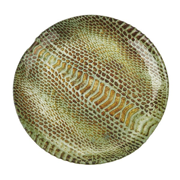 Snakeskin Salad Canape Turquoise Gold Plate Free