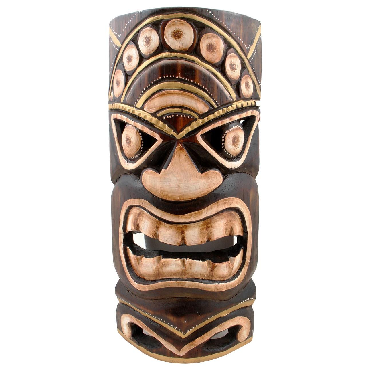 """Handmade Tiki Mask (Indonesia) (Mask Tiki 12""""), Brown, Si..."""