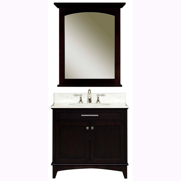 Water Creation Manhattan 30-inch Dark Espresso Single Sink Bathroom Vanity And Manhattan-M-2430 Matching Mirror