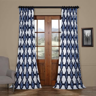 Exclusive Fabrics Sarong Grey Printed Cotton Pole Pocket Single Curtain Panel (50 w x 108 l - Blue)