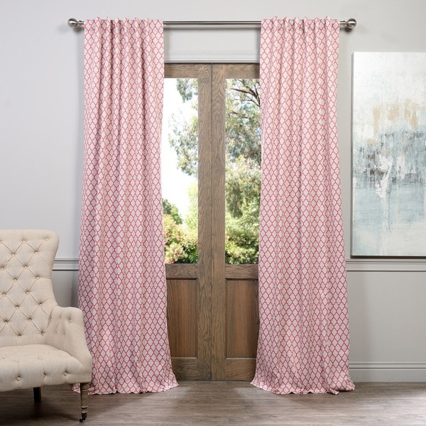 Shop Geometric Pink and Beige Rod Pocket Curtain Panels - On Sale ...