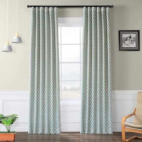 Exclusive Fabrics Casablanca Aqua/ Beige Pole Pocket Blackout Curtain Panel Pair