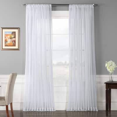 Exclusive Fabrics Extra Wide White Voile Sheer Curtain Panel