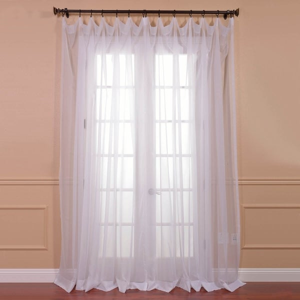 shop exclusive fabrics extra wide white voile sheer curtain panel on sale free shipping on. Black Bedroom Furniture Sets. Home Design Ideas