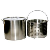 80-quart Stainless Steel Stock/ Brew Pot with Deep Steamer Basket and Lid