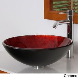 Elite 7013F371023 Modern Design Tempered Glass Bathroom Vessel Sink and Faucet Combo