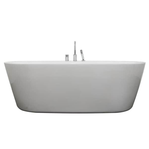 Una Pure Acrylic 71 Inch All In One Oval Freestanding Tub Kit   Free  Shipping Today   Overstock.com   15595627