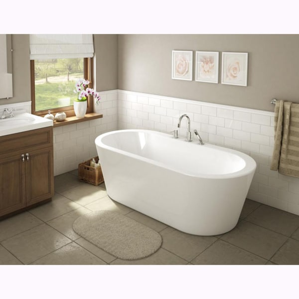 Shop una pure acrylic 71 inch all in one oval freestanding for Oval garden tub