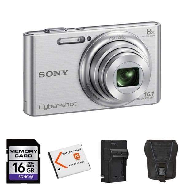 Sony Cyber Shot DSC-W730 16.1MP Silver Digital Camera 16GB Bundle