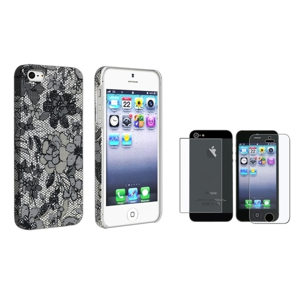 INSTEN Black Flower Phone Case Cover/ Screen Protector for Apple iPhone 5/ 5S