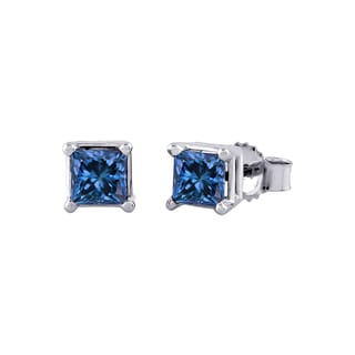14k White Gold 1/4ct to 1ct TDW Princess-cut Blue Diamond Stud Earrings