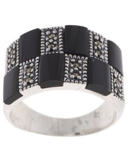 Glitzy Rocks Sterling Silver Marcasite and Black Onyx Ring