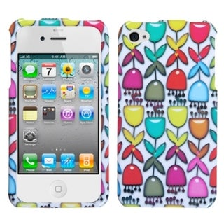INSTEN Colorful Flower Buds/ White Phone Case Cover for Apple iPhone 4/ 4S