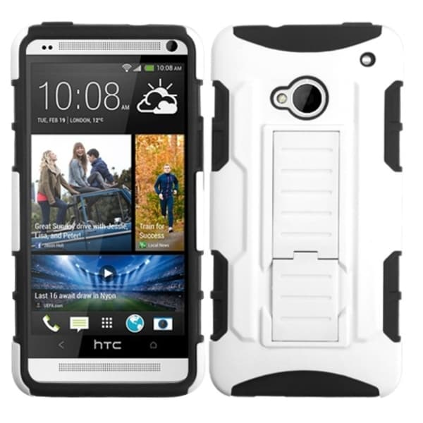 BasAcc White/ Black Car Rubberized Armor Stand Case for HTC One M7