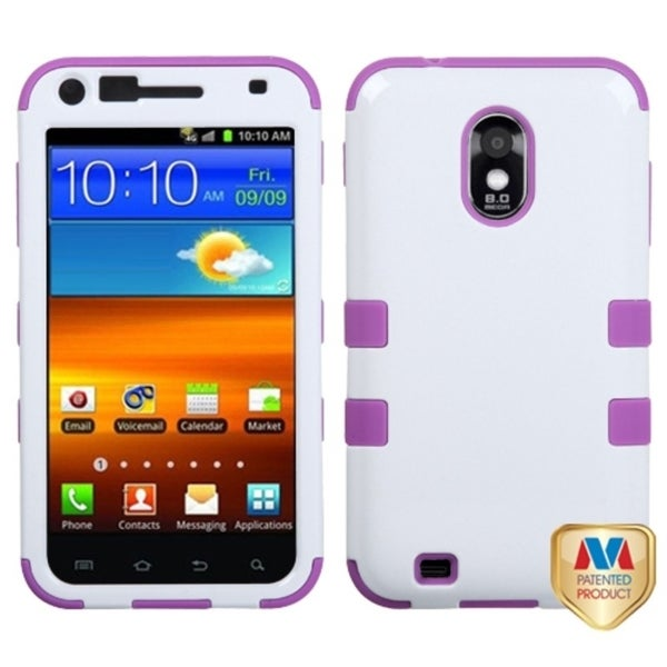 INSTEN Ivory White/ Electric Purple Hybrid Phone Case Cover for Samsung Galaxy S2