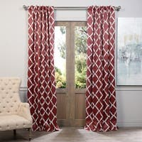 Exclusive Fabrics Red Trellise Print Blackout Curtain Panel Pair