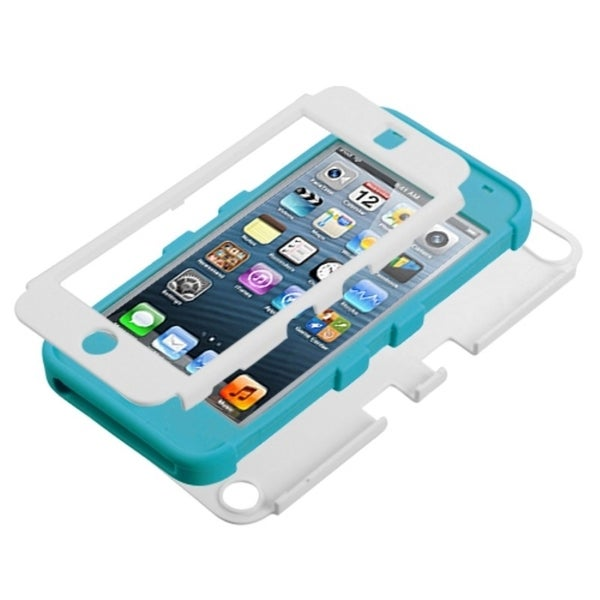 Insten White/ Light Blue Tuff Hard PC/ Silicone Dual Layer Hybrid Glossy Case Cover For Apple iPod Touch 5th/ 6th Gen