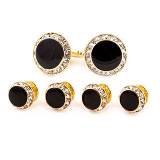 Gold-tone Black Enamel and Cubic Zirconia Formal Cufflinks and Studs Set