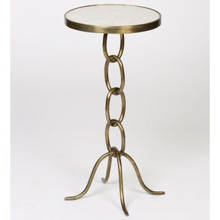 Small Chain Link Metal End Table with Granite Top