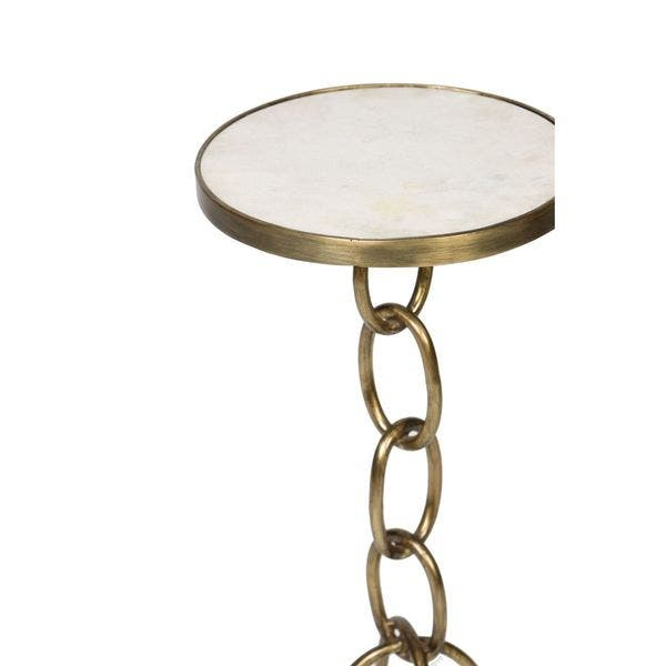 Shop Small Chain Link Metal End Table with Granite Top ...