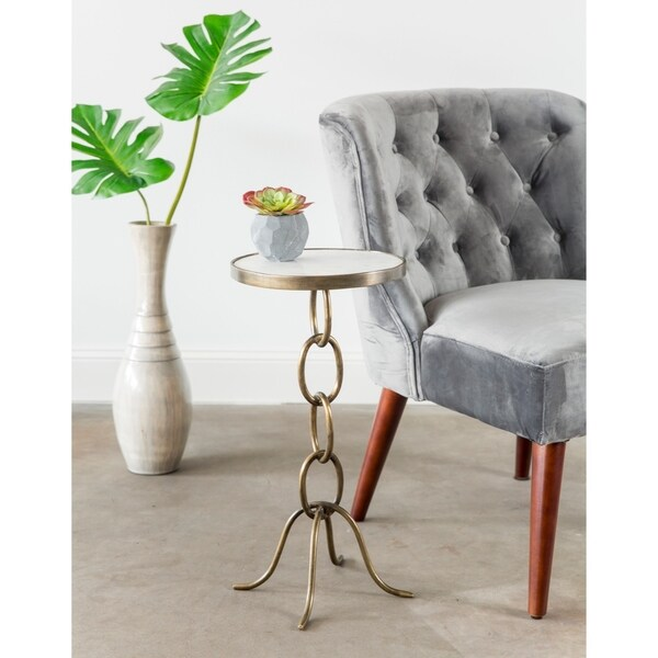 Shop Small Chain Link Metal End Table With Granite Top Free