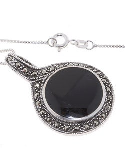 Glitzy Rocks Sterling Silver Marcasite and Onyx Art Deco Pendant - Thumbnail 1