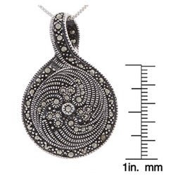 Glitzy Rocks Sterling Silver Marcasite and Onyx Art Deco Pendant - Thumbnail 2
