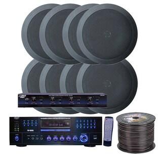 Pyle KTHSP85DVBK 4 Room Home In-Ceiling Speakers W/DVD/MP3 Amp System (Black)