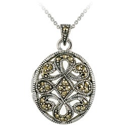 Glitzy Rocks Sterling Silver Marcasite Oval Locket Necklace