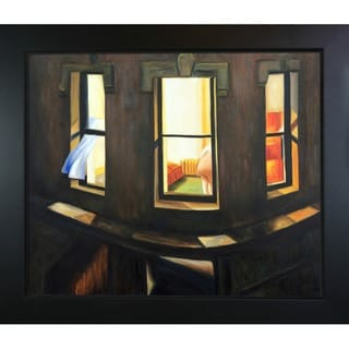 Edward Hopper 'Night Windows' Hand Painted Framed Canvas Art
