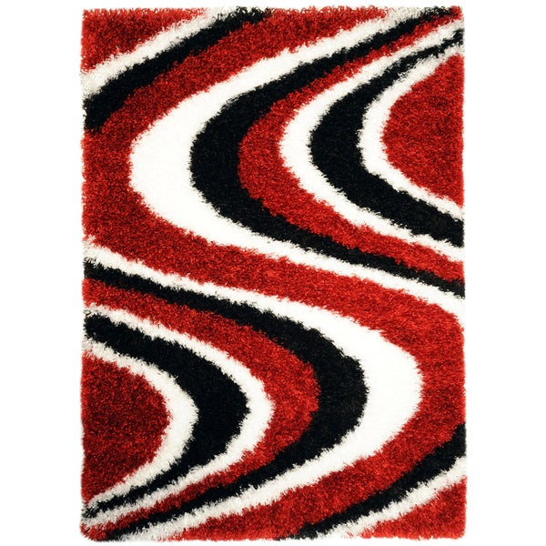 Chic Luxurious Soft Shag Waves Red Black White Area Rug (5' x 6'10)