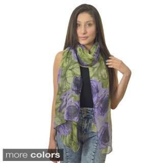 LA77 Women's Oversized Floral Print Scarf