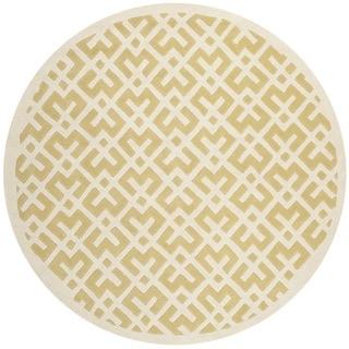 Safavieh Handmade Moroccan Chatham Light Gold/ Ivory Wool Area Rug (7' Round)