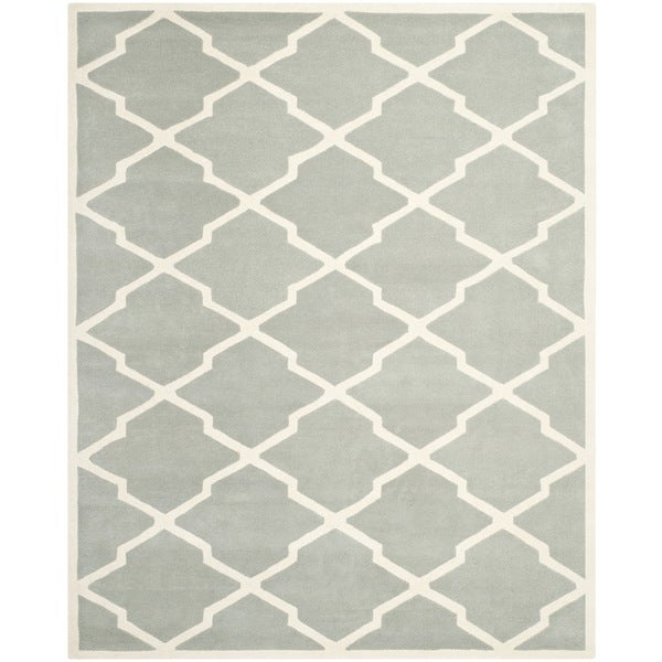 Safavieh Handmade Contemporary Moroccan Chatham Gray/ Ivory Wool Rug - 8'9 x 12'