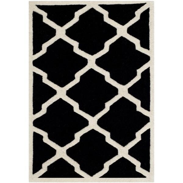 Safavieh Handmade Moroccan Chatham Black/ Ivory Wool Rug - 2' X 3'