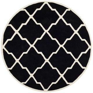 Safavieh Handmade Moroccan Chatham Black/ Ivory Wool Rug (7' Round)