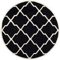 Safavieh Handmade Moroccan Chatham Black/ Ivory Wool Rug - 7' Round