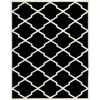Safavieh Handmade Moroccan Chatham Black/ Ivory Wool Rug (8'9 x 12')