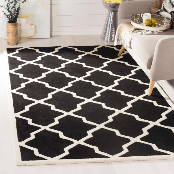 "Safavieh Handmade Moroccan Chatham Black/ Ivory Wool Rug - 8'9"" x 12'"