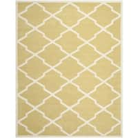 Safavieh Handmade Moroccan Chatham Light Gold/ Ivory Wool Rug - 6' x 9'