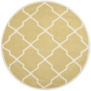 Safavieh Handmade Moroccan Chatham Light Gold/ Ivory Wool Rug (7' Round)