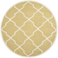 Safavieh Handmade Moroccan Chatham Light Gold/ Ivory Wool Rug - 7' Round