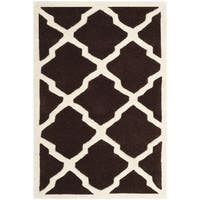 Safavieh Handmade Moroccan Chatham Dark Brown/ Ivory Wool Rug - 3' x 5'