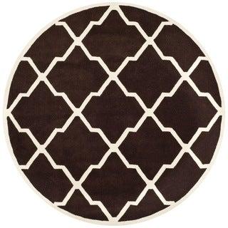 Safavieh Handmade Moroccan Chatham Dark Brown/ Ivory Wool Rug (7' Round)