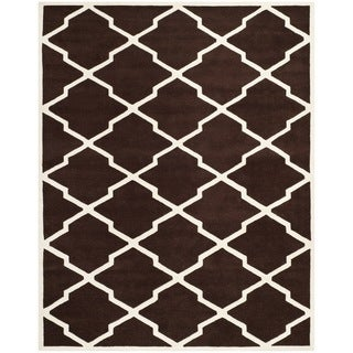 Safavieh Handmade Moroccan Chatham Dark Brown/ Ivory Wool Rug (8' x 10')